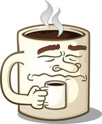 Grumpy Coffee Mug Cartoon Character Holding A Smaller Mug - stock illustration