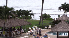 Poolside and oceanside bar Stock Footage
