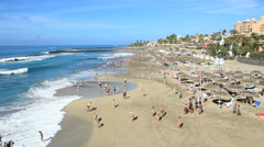 Tenerife, Las Americas, Playa Del Duque beach view Stock Footage