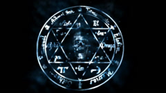 Skull with star of David,shine particles & lightning. Stock Footage
