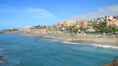 Tenerife, Las Americas, Playa Del Duque beach view Stock Footage