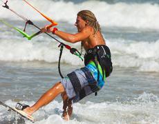 Stock Photo of kite surfer in a tropical beach, mui ne, vietnam