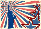 Stock Illustration of statue of liberty on patriotic grungy stars and stripes background