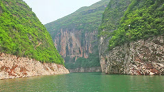 Sailing through the Three Little Gorges in Yangtze River, China Stock Footage
