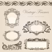 Vintage frame border collection vector design elements. Stock Illustration