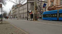 Tram passing by in Zagreb, Croatia Stock Footage