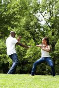 Martial Arts excercise couple - stock photo