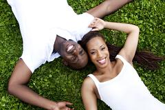 Happy smiling African couple Stock Photos