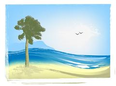 Illustrated seascape Stock Illustration