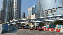 Asia China Hong Kong Central district commuters elevated walkway - stock footage