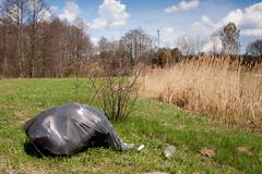 Illegal scatter garbage in black plastic bag - stock photo