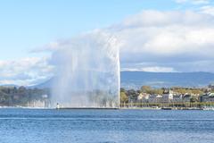 jet d'eau fountain in geneva switzerland - stock photo