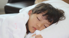 Little sick girl in the hospital Stock Footage