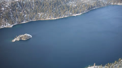 Flying over Fannette Island and Emerald Bay Lake Tahoe Stock Footage