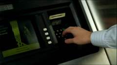 Entering pin number at ATM 35mm Stock Footage