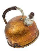 One brown old worned kettle with whistle Stock Photos