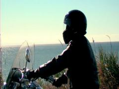 Man riding motorcycle ANAMORPHIC Stock Footage