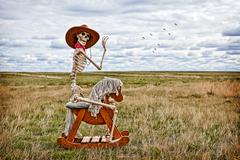 cowboy skeleton - stock photo