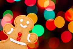gingerbread man with bokeh - stock photo