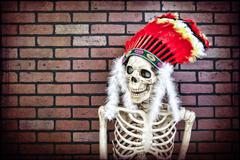 native american skeleton - stock photo