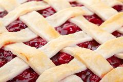 lattice top cherry pie macro - stock photo