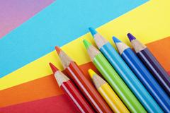 Paper and crayons Stock Photos