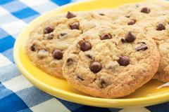 homemade chocolate chip cookies - stock photo