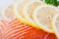 salmon on ice - stock photo