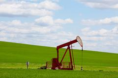 red pumpjack - stock photo