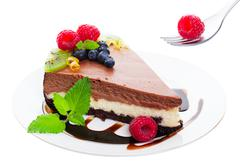 Triple layer chocolate cheesecake Stock Photos