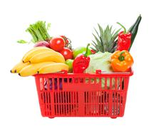 Grocery shopping basket Stock Photos