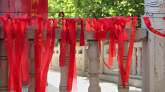 Red prayer flags in temple,xian,shaanxi,China Stock Footage