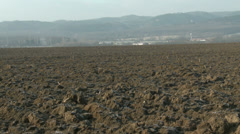 4K Countryside Continental Snowless Winter 7 plough field Stock Footage