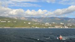 Stock Video Footage of Ukraine Crimean coast approaching Yalta with pilot boat