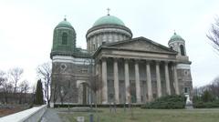 4K Esztergom Hungary Basilica 2 winter Stock Footage