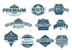 collection of labels denoting premium quality - stock illustration
