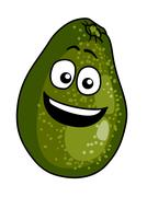 happy ripe green cartoon avocado pear - stock illustration