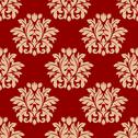 Stock Illustration of red damask style arabesque pattern
