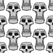 Seamless pattern of spooky halloween skulls Stock Illustration