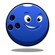 Stock Illustration of happy colourful blue cartoon bowling ball