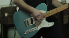 Musc band play guitars. Guitar Rock Band Music.Electric Guitar Playing - stock footage