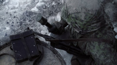 Grenade / Potato Masher 2 (WWII) | Waffen SS   | Winter Scene Stock Footage