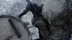 Panzergrenadier - reloading MP40 (WWII) | Waffen SS  | Winter Scene Stock Footage