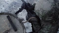 Panzergrenadier - reloading MP40 (WWII) | Waffen SS  | Winter Scene - stock footage