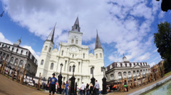4K St Louis Cathedral Fisheye Timelapse 4015 Stock Footage