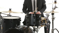 Tuxedo drummer isolated Stock Footage