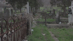Stock Video Footage of Old haunted cemetery [flycam] narrow