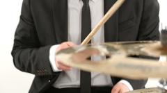 tuxedo drummer cymbal isolated - stock footage