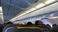 Airplane interior, back view HD Footage