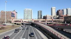 Daytime traffic on Chicago expressway, time lapse Stock Footage